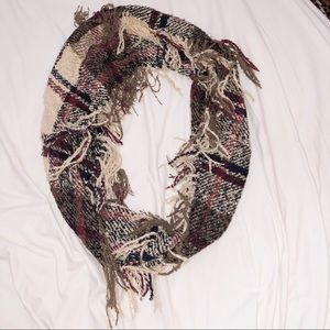 Plaid checkered fall infinity scarf with fringe